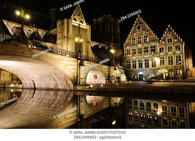 Buildings of Korenlei pier and St Michael's bridge by night, Ghent, Belgium, Europe