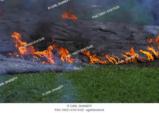 Hawaii, Big Island, Kilauea Volcano, Kalapana, active lava flow over grass