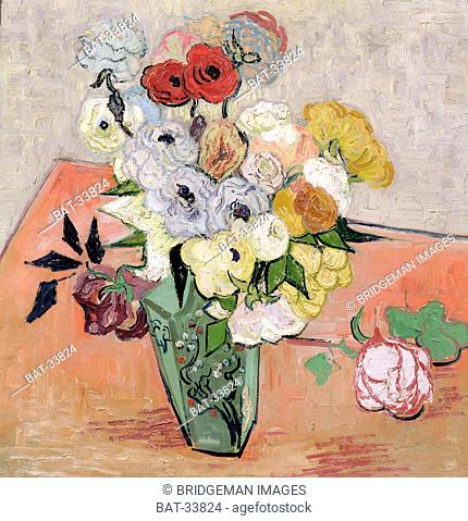Japanese Vase with Roses and Anemones, 1890 (oil on canvas), Gogh, Vincent van (1853-90) / Musee d'Orsay, Paris, France / Bridgeman Images