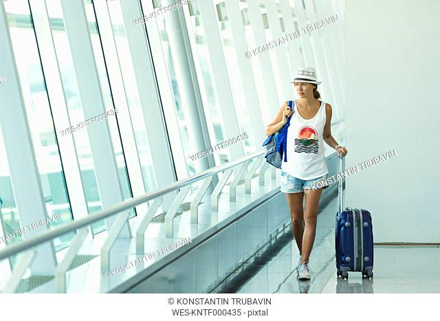 Vietnam, Ho Chi Minh city, young woman in airport