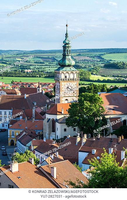 Aerial view from Goat Hill on Mikulov Old Town with clock and bell tower of Saint Wenceslas church, Moravia, Czech Republic