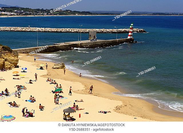 Europe, Portugal, Southern Portugal , Algarve region , Faro district , Lagos, panoramic view of Atlantic Ocean, Praia Batata - Batata beach near mouth of...