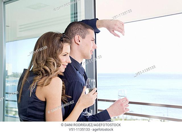 Couple drinking champagne looking at the sea at home