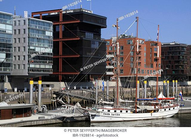 New buildings and 3-mast sailing ship Loth Lorien, Hafencity harbour district, Hamburg, Germany, Europe