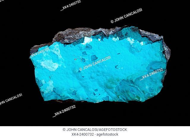 Chrysocolla, hydrated copper cyclosilicate mineral with formula: Cu2-xAlx(H2-xSi2O5)(OH)4·nH2O (x<1), minor ore of copper, Katanga provence, Congo