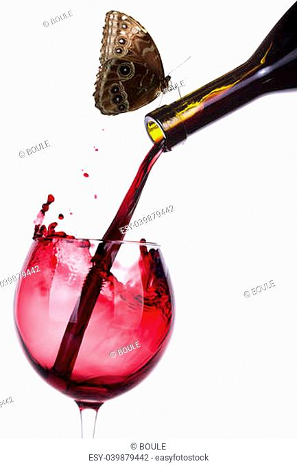 Splash red wine against a white and butterfly background