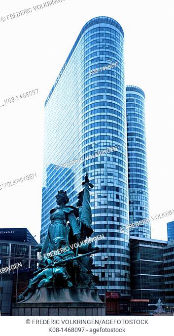 Coeur Defense tower and La Defense sculpture by Louis Ernest Barrias, La Defense business district, Paris, France