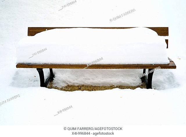 Snow-covered bench in a public park
