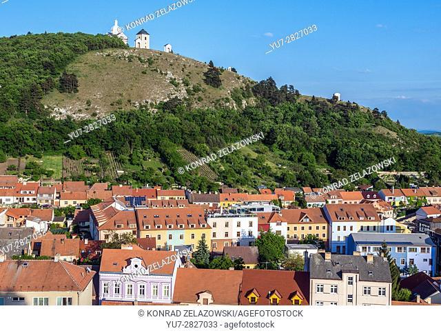 Saint Sebastian Chapel and Bell Tower on the Holy Hill (Svaty Kopecek) in Mikulov town, Moravian Region in Czech Republic