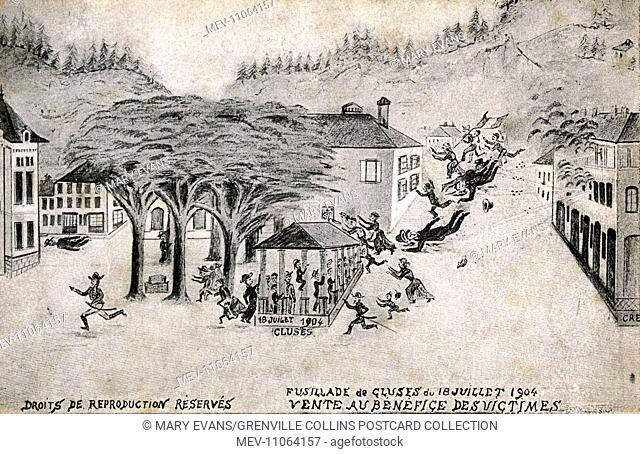 A postcard sold to raise money for the victims of a shooting during a strike by Watchmakers in the French town of Cluses, Haute Savoie on May 10th, 1904