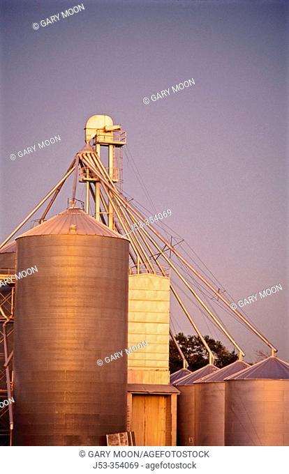 Grain elevators. Central Nebraska. USA