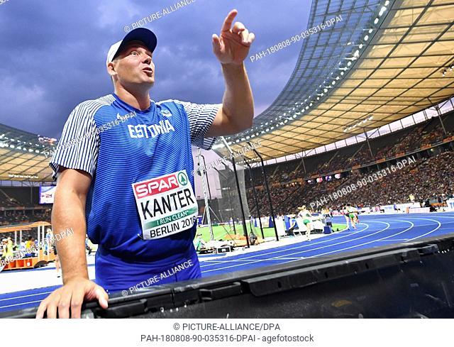 08.08.2018, Berlin: Athletics, European Championships in the Olympic Stadium: Discus throw, Men, Final, Gerd Kanter from Estonia