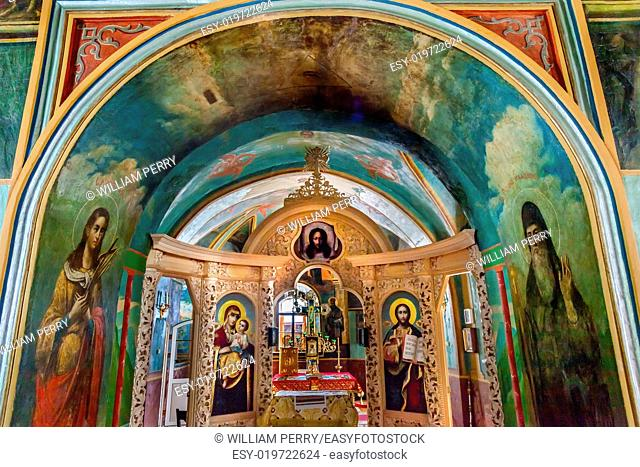 Ancient Mosaics Icons Screen Rectory Saint Michael Vydubytsky Monastery Kiev Ukraine. Saint Michael's is the oldest functioning Orthordox Monasatery in Kiev