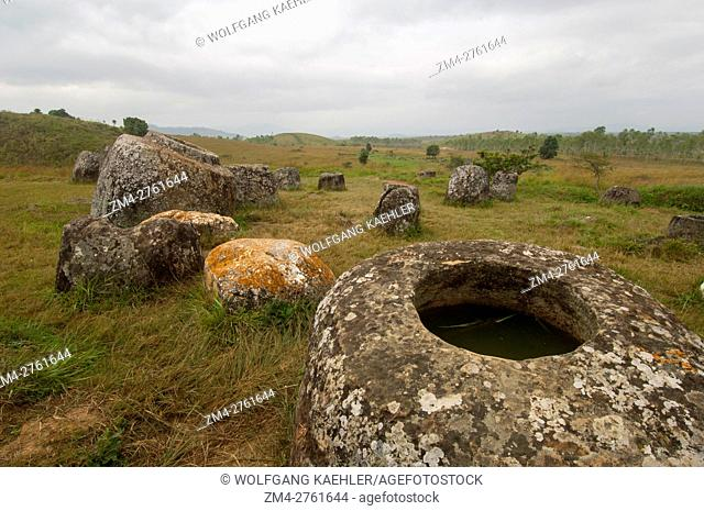 The Plain of Jars consists of thousands of stone jars scattered around the upland valleys and the lower foothills of the central plain of the Xiangkhoang...