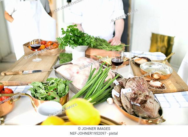 View of table during cooking classes