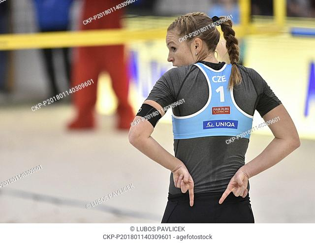 Czech Kristyna Kolocova (photo) in action during women Beach Volleyball CEV European Championship Tour Masters semifinal match Kolocova and Kvapilova vs Anniina...