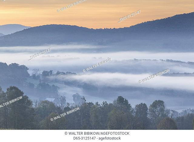 USA, New England, Vermont, Peacham, morning fog, autumn