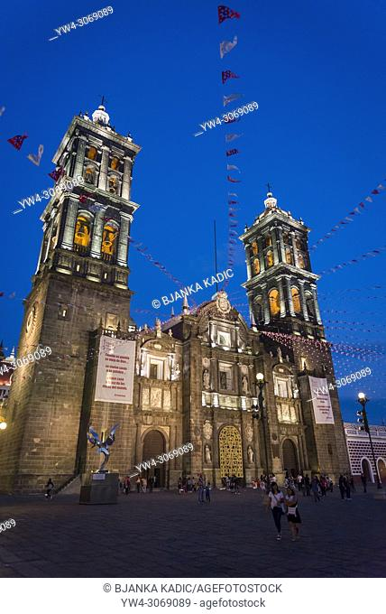 Puebla Cathedral, a Roman Catholic church built in the Spanish colonial style, Puebla, Mexico