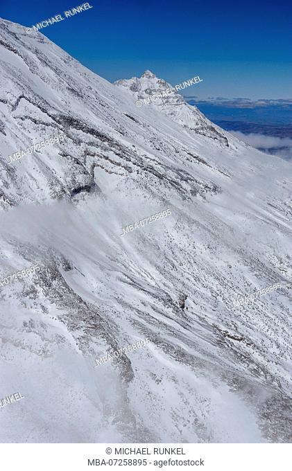 Aerial of the slopes of Mount Ruapehu, Tongariro National Park, North Island, New Zealand