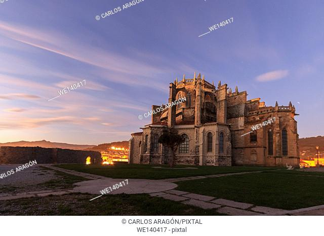 Night view of the Church of Castro Urdiales, Cantabria, Spain