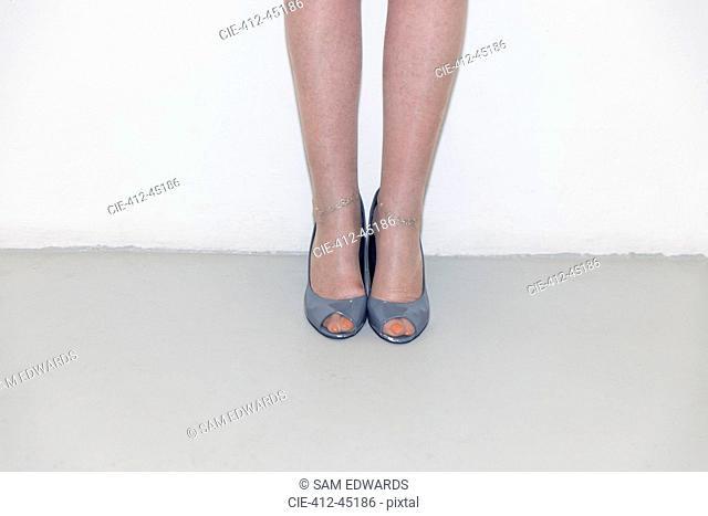 Senior woman wearing open-toe high-heels