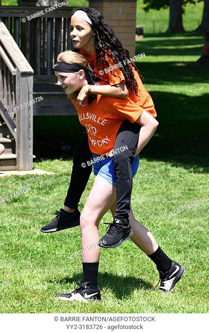 7th Grade Girls, Piggyback, Wellsville, New York, USA