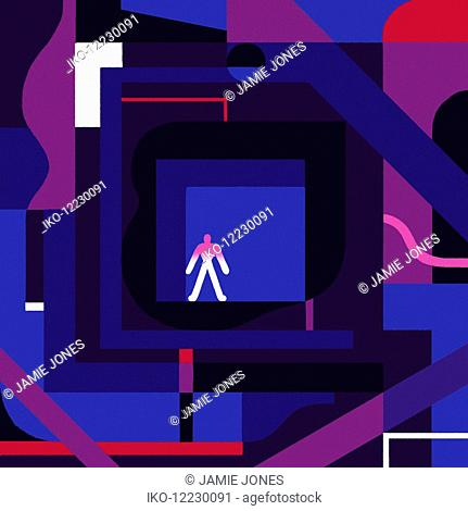 Man lost in complex abstract maze
