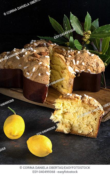 Colomba pasquale, an Italian traditional Easter cake, the counterpart of the two well-known Italian Christmas desserts, panettone and pandoro
