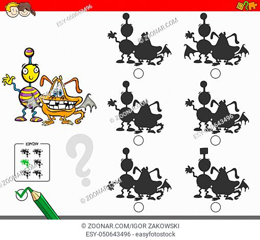 Cartoon Illustration of Finding the Shadow without Differences Educational Activity for Children with Comic Monster Characters