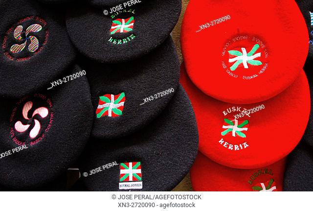 Chapela is a traditional Basque-style beret, Basque Country Flag, Donostia, San Sebastian, Gipuzkoa, Basque Country, Euskadi, Spain, Europe