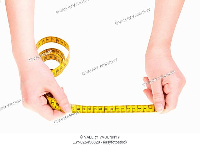 female hands with tailor measuring tape isolated on white background