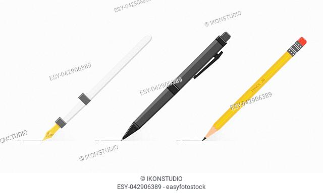 Set of fountain pen, black ball pen and wooden pencil with eraser at an angle of 45 degrees. Office writing items. Realistic flat style vector illustration