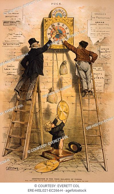 ARBITRATION IS THE TRUE BALANCE OF POWER. Political cartoon advocating arbitration indicating the growing acceptance of organized labor in the 1880s