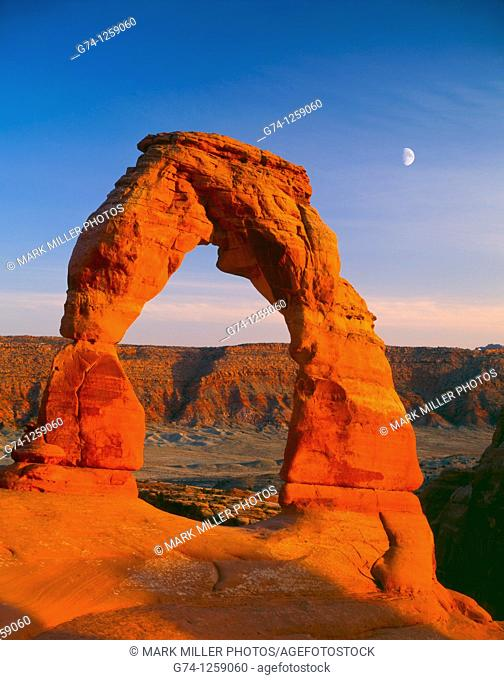Delicate Arch and Moon at Sunset
