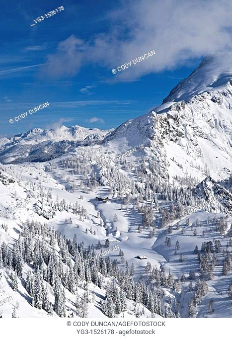 Schneibsteinhaus and Torrener Joch pass 1733m in winter viewed from Jenner, Berchtesgaden national park, Germany