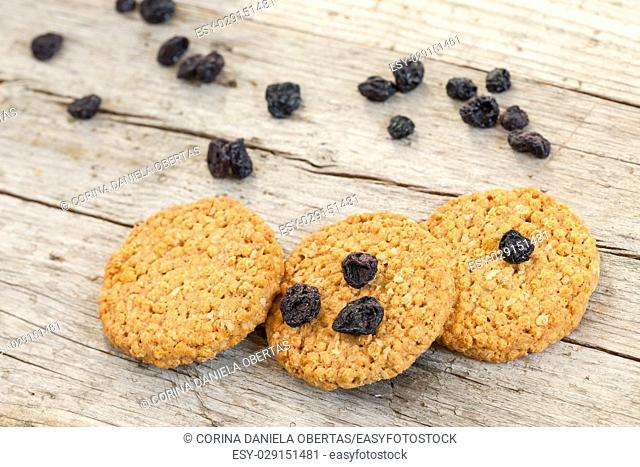 Cereal cookies with dried blueberries, on wood background
