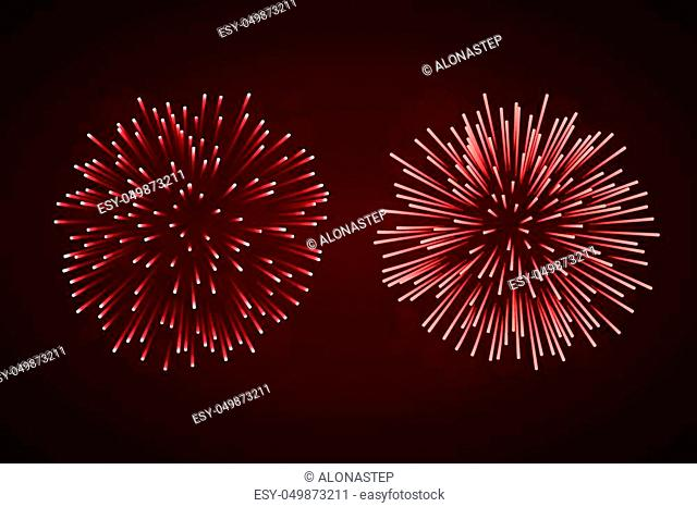 Beautiful red fireworks set. Bright fireworks isolated black background. Light red decoration fireworks for Christmas, New Year celebration, holiday festival
