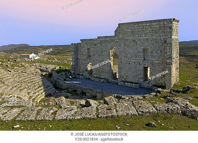 Roman theater of Acinipo, Ronda, Malaga province, Region of Andalusia, Spain, Europe