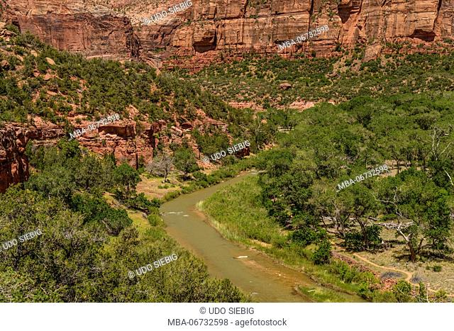 The USA, Utah, Washington county, Springdale, Zion National Park, Zion canyon, Virgin River Valley, view from the Kayenta Trail