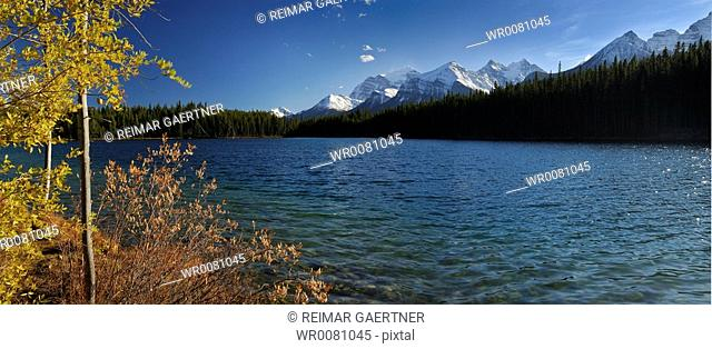 Panorama of Herbert Lake with Waputik Mountain Range at Lake Louise