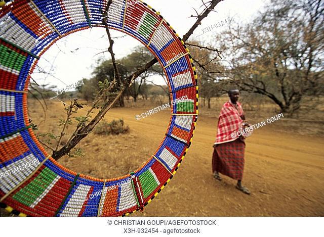 woman walking in the bush,Namamga area, Kenya,East Africa