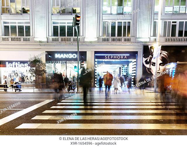 Gran Via street at night  Madrid  Spain