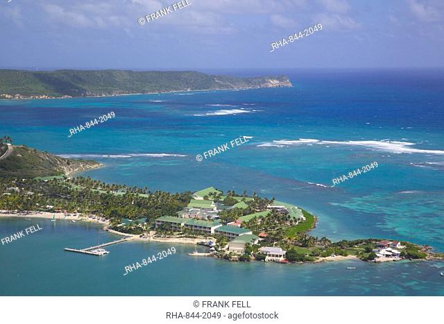 View of Mamora Bay and St. James Club, Antigua, Leeward Islands, West Indies, Caribbean, Central America