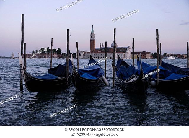 gondola in venice in evening time