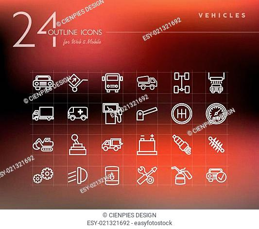 Transport and mechanic outline icons set