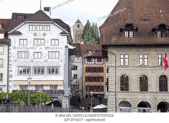 Cityscape in Luzern on April 18, 2017 Switzerland