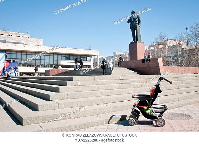Lenin monument and Music Theatre building in Simferopol during Crimea 2014 crisis
