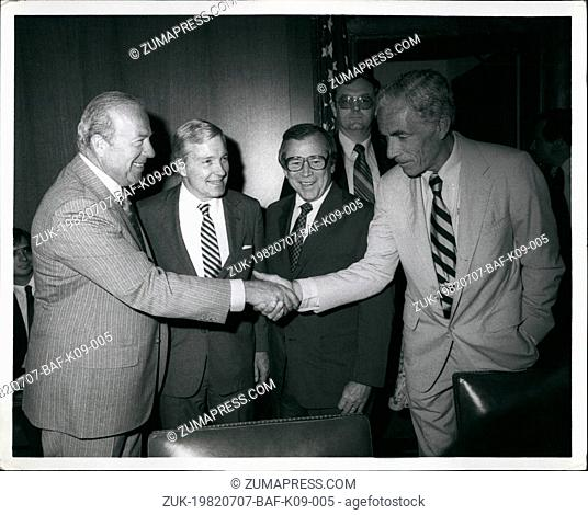 Jul. 07, 1982 - Shultz Meets With Hill Leaders: Secretary of State designate George Shultz (left) shakes hands with Sen. Claiborn Pell (D) Conn