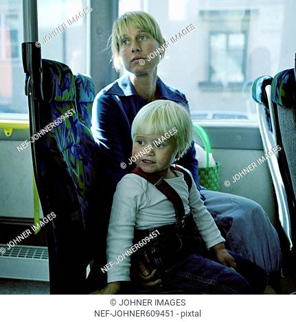 Mother and daughter on a bus, Stockholm, Sweden