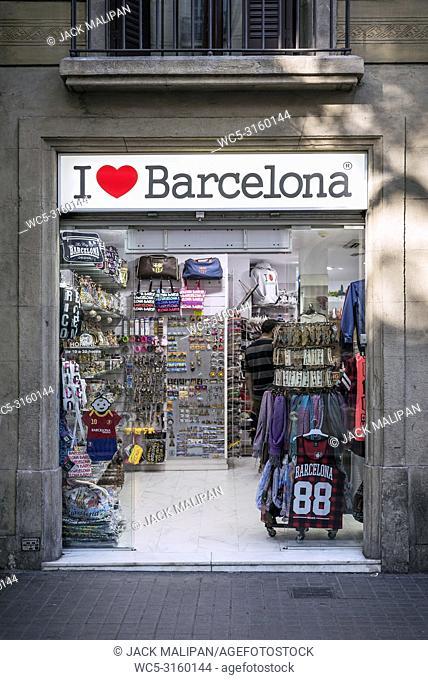 the i love barcelona tourist souvenir shop exterior in ramblas downtown area of central barcelona spain